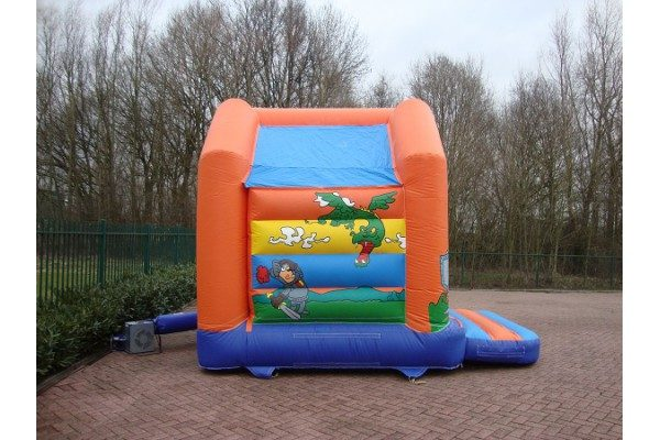 Bouncy castle knight and dragons with roof